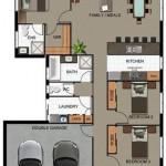 Plano de casa con garaje y 4 dormitorios