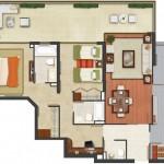 Plano de departamento moderno de dos dormitorios