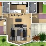 Plano de casa moderna de 3 dormitorios en 3D