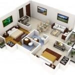 Plano de apartamento de 2 dormitorios y 2 baños