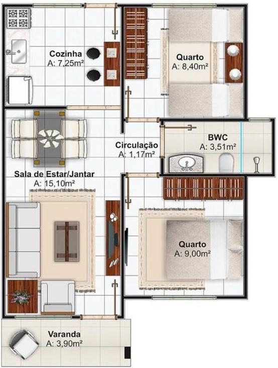 planos de casas de 2 dormitorios