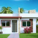 Plano de casa sencilla con 2 dormitorios
