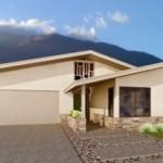 Plano de casa grande con techo a dos aguas