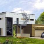 Plano de casa moderna de 242 m2