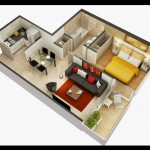 Plano de departamento con decoración