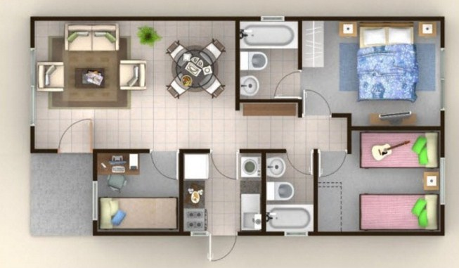 Planos de casas modernas 8 x 15 for Casa moderna de 7 x 15