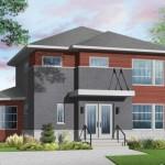 Plano de casa de 2 pisos con fachada