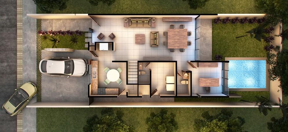 Plano de casa moderna de dos pisos con cochera doble for Planos de piscinas pequenas