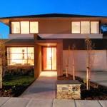 Plano de casa contemporánea con 4 habitaciones