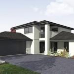 Plano de casa de 2 pisos, 4 dormitorios y 280 metros cuadrados