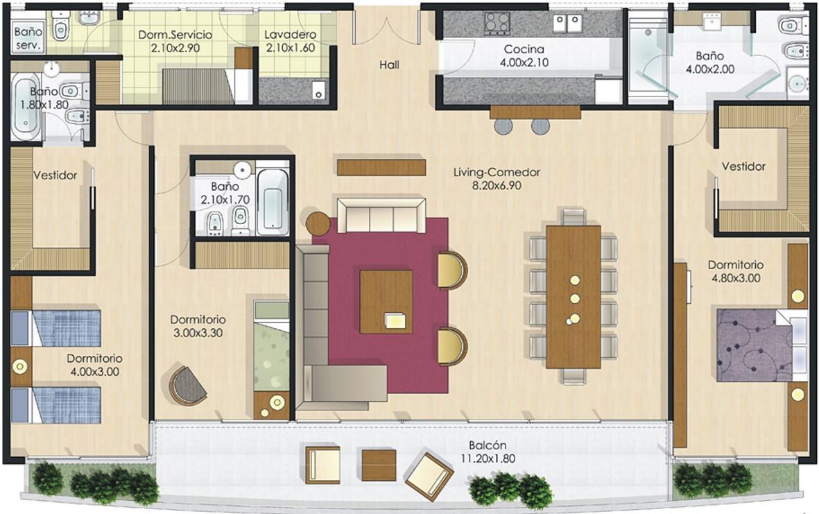 Plano de departamento 160m2 planos de casas modernas for Diseno de apartamentos de 90 metros cuadrados
