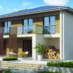 Planos de casas de dos plantas con medidas y fachadas con garaje
