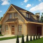 Casa de madera con tejas