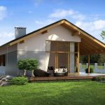 Modelo de casa de un piso con techo de chapa
