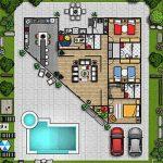Plano de casa grande de una planta