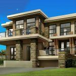 Plano de casa moderna con 2 pisos con subsuelo