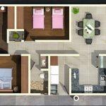 Diseño de casa de 3 habitaciones y 2 baños