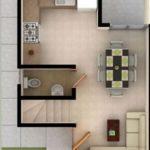 Casa de 2 pisos con las habitaciones arriba