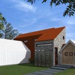 Casa de dos plantas moderna con fachada escalonada