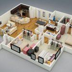 Diseños de apartamentos de 3 habitaciones y más de 100m2